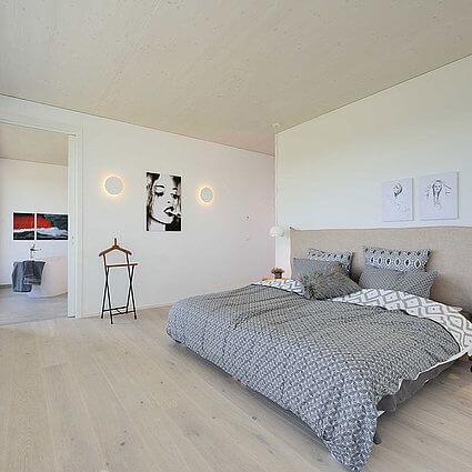 Allgäuimmo Schlafzimmer mit Doppelbett